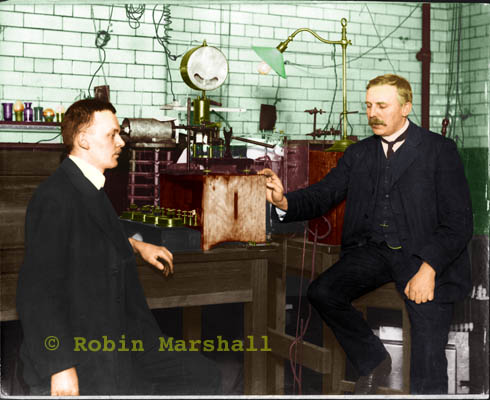 Hans Geiger & Ernest Rutherford 1910 in Colour